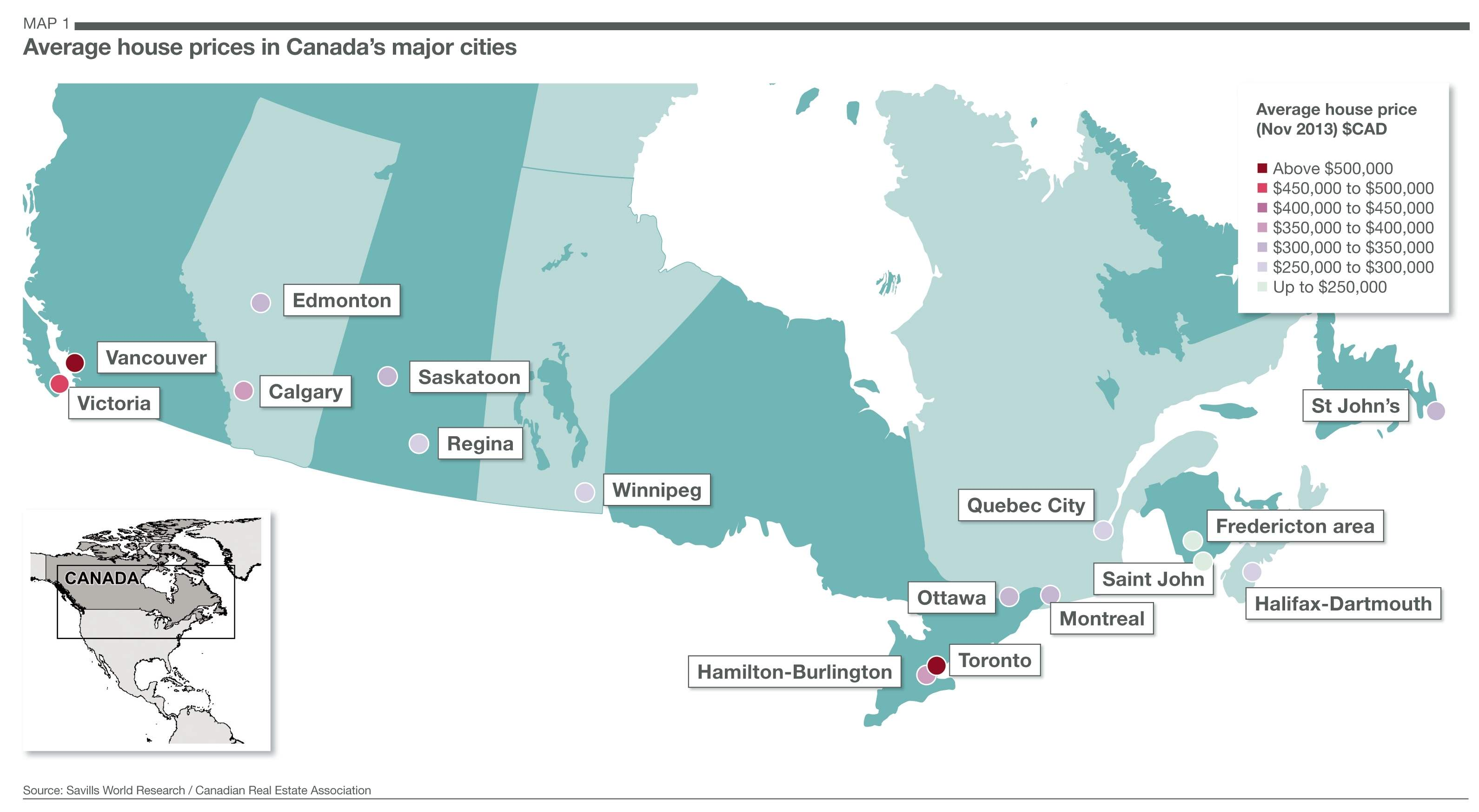 Savills UK Canadas Big Cities - Canada map major cities