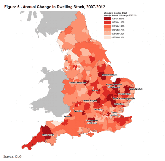 Annual Change in Dwelling Stock, 2007-2012