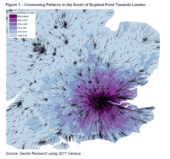Commuting Patterns in the South of England point towards London