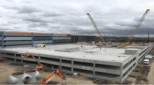 Amazon four level warehouse under construction at London Distribution Park