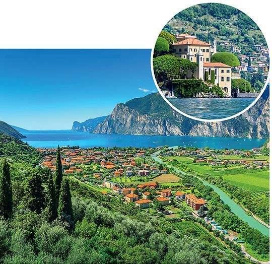 Main: Torbole, Lake Garda. Inset: Villa del Balbianello, Lake Como