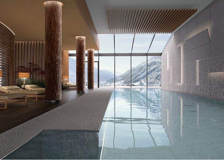 The pool at Lefay Wellness Residences in the Dolomites